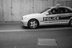 POLICE (PNetzer) Tags: street blackandwhite germany cab taxi streetphotography cologne kln philippnetzer