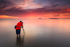 Photographer's Magic Hour (Fakrul J) Tags: sunset photographer borneo sabah tanjungaru