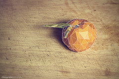 Naartjie Low Poly (BronwynKatzke) Tags: wood stilllife food leaves fruit photoshop leaf graphic board chopping mandarin citrus lowpoly naartjie