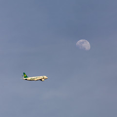 flight to moon (job23701) Tags: sky moon canon airplane aircraft flight lunar 6d canon6d 長焦 胖白