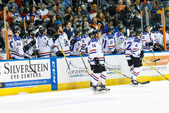 """Missouri Mavericks vs. Allen Americans, March 3, 2017, Silverstein Eye Centers Arena, Independence, Missouri.  Photo: John Howe / Howe Creative Photography • <a style=""""font-size:0.8em;"""" href=""""http://www.flickr.com/photos/134016632@N02/32458936633/"""" target=""""_blank"""">View on Flickr</a>"""