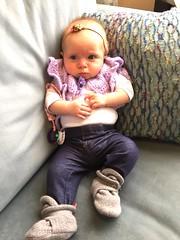 Baby Boho. Fashionista Fabulous. (enovember) Tags: crochet capelet sweater cape lavender baby child infant jeggings denim jeans pout pouty