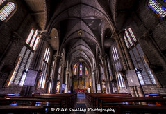 Nha Trang Cathedral. (Ollie Smalley Photography  Travelling) Tags: lighting decorations light sunlight distortion church architecture canon prime grey artwork shrine vietnamese catholic cathedral distorted decorative interior details religion jesus structure symmetry christian vietnam getty gods symmetrical colourful seating benches hdr highdynamicrange structural gettyimages hdri osp nhatrang verticals 14mm photomatix samyang religiousbuilding verticaldistortion nhatrangcathedral canon5dmarkii lightroom4 olliesmalleyphotography samyang14mmf28mf