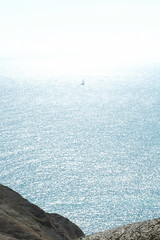 shimmering sea (makipon) Tags: sea england coast boat spring yacht walk dorset outing shimmer lulworth durdledoor x100