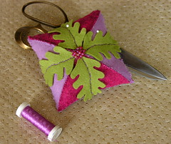 Red and Wisteria Pin Cushion (twoluckycats) Tags: red berry pin purple felt pincushion ruby cushion beaded wisteria