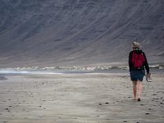 Famara walk (grapfapan) Tags: mountains beach landscape volcano spain sand lanzarote canarias