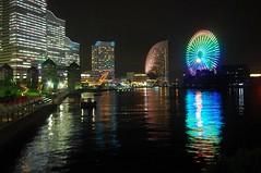 Rainbow colored ferris wheel (runslikethewind83) Tags: light color colour building colors wheel june japan night dark lights bay rainbow colours pentax ferris ferriswheel  yokohama kanagawa minatomirai  nihon    2013  blinkagain
