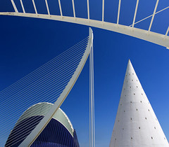 Valencia's Ciudad de las Artes y las Ciensias, Spain - Agora and suspension bridge 9nc (Jon Bower) Tags: city blue sky geometric glass architecture modern spain arts azure ciudad cloudless artes palau sciences agora concret hemisferic aluminim valenica umbracle modernistic ciensias meseu