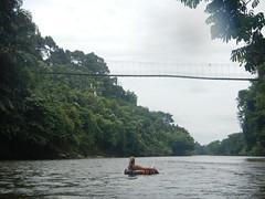 Tubing under hanging bridge