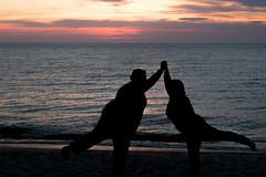 Zen (Ronald Miles) Tags: girls sunset color beach silhouette fun evening newjersey fuji meetup may zen cape fujifilm spiritual higbee higbeebeach xpro1