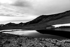Mirror for the Sky (mhitchner1) Tags: park bw white lake black west reflection nature water glass monochrome contrast canon landscape mono frozen washington northwest mark iii north smooth mount national rainier cascades 5d