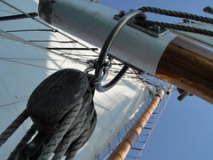 DSC09882 (Kate Hedin) Tags: sky lake chicago water lines skyline boat illinois ship michigan horizon sails windy rope pirate sail tall mast adventures