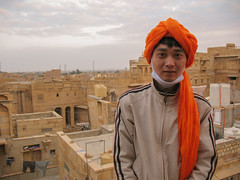 John at Jaisalmer Fort (Myself more than Synghan) Tags: india indians indian fort jaisalmer korean john camel camels safari trip tour tourism sightseeing travel travels gate gadi sagar lake manju canon powershot a630 turban