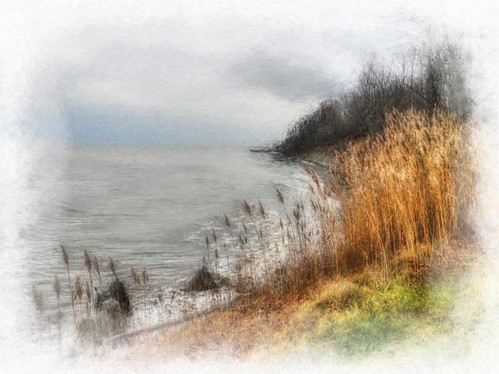 Lake Erie Shoreline on Gloomy Winter Day
