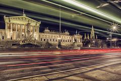 Tram on the Ringstrae (CARLORICCI) Tags: vienna wien lights austria nikon tram luci carlo 20mm parlament ringstrasse d800 parlamento copyright reichsrat palasatenea theophilhansen 30secondi ringstrase nikkor20mmf28daf carloricci riccarlo carl ocarlo