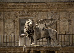 Iron Lion Zion.. (areyarey) Tags: old travel italy sculpture detail history tourism monument saint animal statue stone facade vintage emblem square wings italian ancient europe italia republic peace power leo symbol mark famous lion culture style landmark icon medieval legendary verona figure historical venetian pax column strength marble piazza winged legend roar venezia mythology masterpiece majesty erbe stmark veneto piazzadelleerbe lionofstmark areyarey republicofvenice vision:text=0754 vision:outdoor=0897