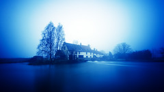 Dawn at Hardwater Mill (2014-01-21) (snjscuba) Tags: longexposure morning blue houses house mist cold tree mill water misty river dawn canal cool pond nikon frost northamptonshire frosty le hitech nene hss hardwater d7000 hardwatermill