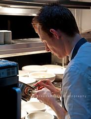Chef Graeme Cheevers plating out (Keith Gooderham) Tags: food scotland glasgow graeme foodanddrink lochlomond cheevers foodphotography cameronhousehotel martinwishart cailbruich copyright2014greenshootsphotography maddklubbenii kg140120010web1 kg140120041aweb1