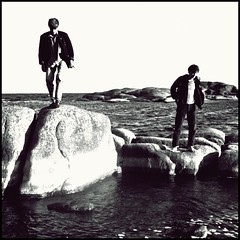Another day on the island (Per Österlund) Tags: people blackandwhite bw white man black water stone finland square islands blackwhite rocks europe waves clothes 1990 aland åland bsquare
