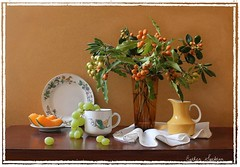 Gleams of Sunshine (Esther Spektor - Thanks for 10+ millions views..) Tags: autumn winter stilllife food orange brown white color reflection green art texture cup glass leaves sunshine yellow fruit composition canon golden amber ceramics pattern berries availablelight napkin cluster plate stilleben fantasy slice vase imagination esther gleam bouquet pitcher grape everydaylife tabletop cantaloupe bodegon naturemorte artisticphotography naturamorta spektor naturezamorta coth creativephotography artdigital artofimages exoticimage estherspektor