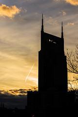 Sky With Bat Ears (raisinsawdust - (aka: tennphoto)) Tags: sunset sky silhouette skyline evening nikon downtown nashville tennessee architectural att bellsouth 2014 d600 nikond600