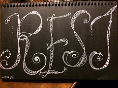 Rest (Kathleen Sharp) Tags: white black pen rest lettering doodled