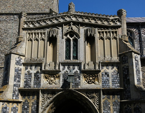 The south porch of c.1420 (detail), the Church of St Peter and St Paul, Fressingfield, Suffolk, England