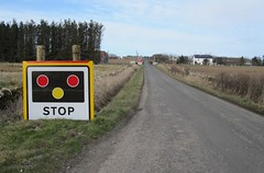Watten level crossing sign (Inverness Trucker) Tags: railroad scotland highlands crossing north railway line highland level automatic barrier barriers far railroadcrossing fnl caithness trafficsignals levelcrossing wigwag watten wigwags farnorthline halfbarrier automatichalfbarrier aoclb