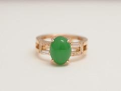 翡翠(ひすい)のリング   Jadeite Ring (jewelrycraft.kokura) Tags: diamond 指輪 リフォーム 翡翠 ダイヤモンド ダイヤ ゆびわ イエローゴールド テーパーダイヤ 18金 jadeite