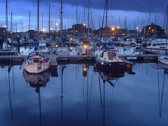 Blue Hartlepool Marina (Tony Worrall) Tags: county england reflection wet water weather season boats coast nice dock colours view place north scenic may location tourist calm coastal sail serene docked northeast masts hartlepool wetreflection hartlepoolmarina photosofhartlepool ©2014tonyworrall