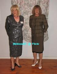 Suit 66a (Melissa451) Tags: skirtsuit shinysuit plaidsuit