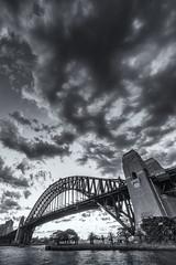 Sydney Harbour (Bill Thoo) Tags: sydney nsw australia sydneyharbour sydneyharbourbridge landscape travel sunset bridge harbour monochrome urban cityscape city landmark blackandwhite sony a7rii samyang 14mm