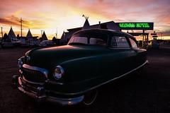 1951 Nash Airflyte. Wigwam Motel #6. Route 66. Holbrook. Arizona (PickledMonkeyStudio) Tags: nash nashairflyte 1951nashairflyte wigwammotel wigwammotel6 route66 holbrook holbrookarizona arizona sunset car automobile classiccar