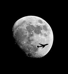 fly by night (scibbo99) Tags: moon jet night cheat black space silhouette plane grey edit
