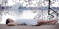 Cherry Blossom Girl (Kevin Casey Fleming) Tags: approved cherry blossom flower girl woman dress lake monument dc sleep relax dof nikon washington tree white shoes framing beautiful flowers colorful portrait people pretty photograph person plant landscape path sidewalk