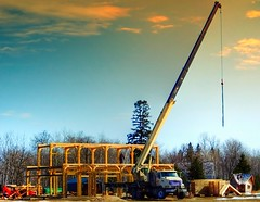 Timber Frame Home in La Coulee, Manitoba (ezigarlick) Tags: timberframe timbers frame home house construction building erection crane boomtruck truck lacoulee manitoba dawsonroad dawsontrail rmofsteanne steannerm