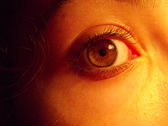 Just An Eye (Loorica) Tags: eye eyelashes lamplight browneye