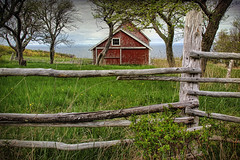 Barn with a View (sminky_pinky100 (In and Out)) Tags: trees red sea canada barn rural fence landscape wooden pretty novascotia rustic scenic coastal annapolisvalley omot cans2s thenewmasterclass