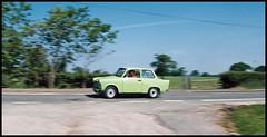 Trabant at Speed! (tatraškoda) Tags: auto classic film car 35mm nikon automobile cheshire rally salt voiture communist socialist oldtimer universal analogue panning kl f5 combi trabant twostroke eastgermany 601 c200 fujicolor easterneuropean
