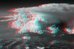 Clouds in 3D - 3 (fksr) Tags: california clouds 3d anaglyph aerial stereo sierranevada redblue thunderhead rdt redcyan