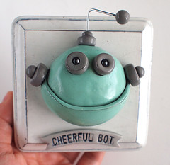 Cheerful Bot 3D Robot Wall Art (HerArtSheLoves) Tags: white silly cute strange 3d wire funny paint handmade mixedmedia teal posing clay oval shabbychic handsculpted cottagechic rusticfinish geekywallart robotwallart cheerfulbot