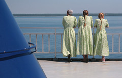 The Ferry Ride (peterkelly) Tags: family blue girls ontario canada green water girl ferry sisters digital boat ship dress view sister georgianbay deck dresses northamerica ponytail matching railing bonnet brucepeninsula mennonite identical chicheemaun mschicheemaun
