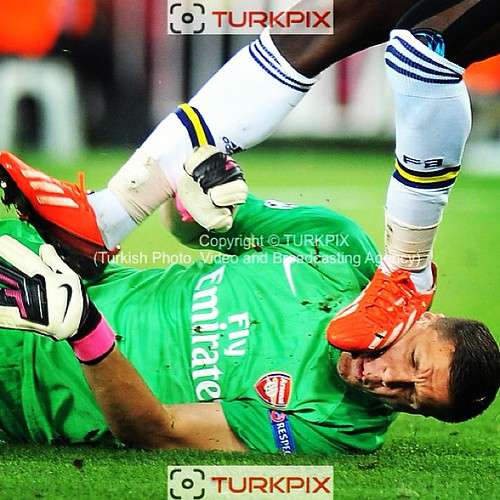 Fenerbahce's Moussa Sow and Arsenal's goalkeeper Wojciech Szczesny during the UEFA Champions League Play-Offs First leg soccer match Fenerbahce between Arsenal at Sukru Saracaoglu stadium in Istanbul Turkey on Wednesday 21 August 2013. Photo by TURKPIX #a
