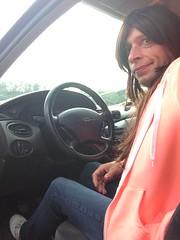 IMG_7129 (JessicaReM) Tags: blue white coral hoodie cd sneakers crossdressing jeans wig runners brunette crossdresser crossdressed