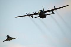 Austrian Air Force - Eurofighter EF-2000 Typhoon / Lockheed C-130K Hercules - 7L-WD / 8T-CA (Ryan Douglas.) Tags: uk scotland force fife ryan air airshow eurofighter douglas lockheed hercules typhoon raf c130 leuchars austrian c130k 2013 ef2000 8tca 7lwd ryansairlinepictures las2013
