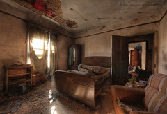 Unmade bed (Sshhhh...) Tags: light abandoned neglect bed buckets dust exploration derelict mattress urbex lightbeam sshhhh expore