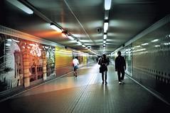 Walking in Tunnel (Explore) (missgeok) Tags: lighting light people orange colors be