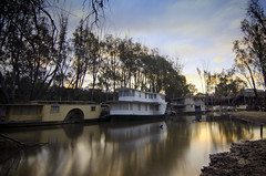 paddle steamers (Indigo Skies Photography) Tags: camera longexposure trees sunset sky colour reflection water digital rural river lens boats boat aperture nikon exposure image couleurs country australia victoria iso tokina newsouthwales colourful riverbank murrayriver echuca moama countrytown neutraldensity northernvictoria tokina1116mmf28 hoyandx400 nikond7000 raychristy