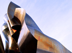EMP (Ryinellen) Tags: seattle blue sky music museum architecture bronze project shiny experience emp