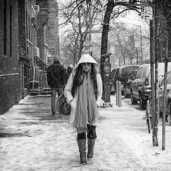Snow Storm Electra p7 (mkc609) Tags: street nyc newyorkcity urban blackandwhite bw ny newyork blackwhite candid streetphotography x100 fujix100 snowstormelectra